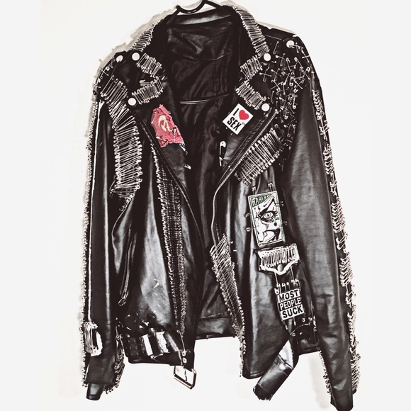 Black Safety Pin Faux Leather Jacket